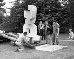 Robert Clothier installing Three Forms sculpture