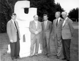 "Robert Clothier in group photo with award winning sculpture ""Three Forms"""
