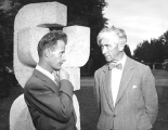 "Herbert Read and Robert Clothier with his award winning sculpture ""Three forms"" and..."